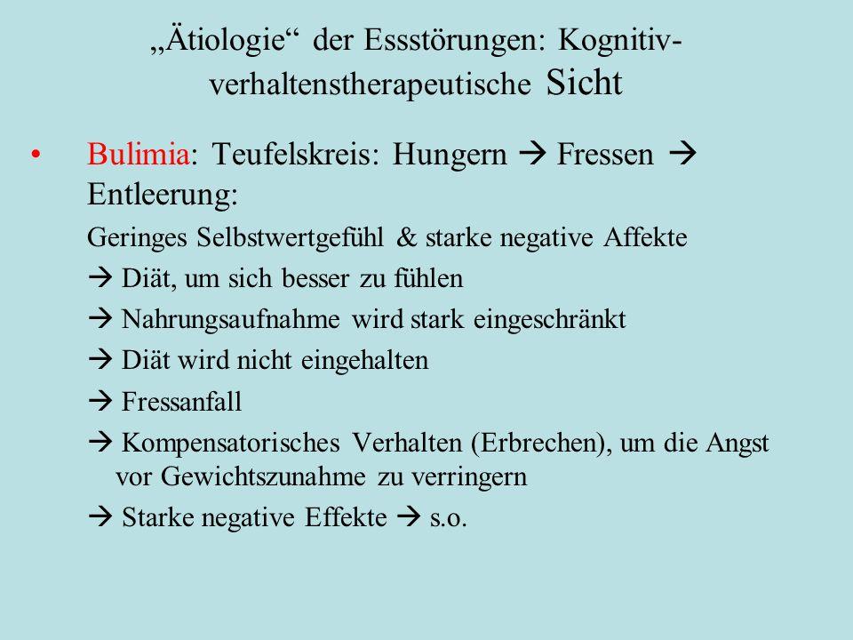 """""""Ätiologie"""" der Essstörungen: Kognitiv- verhaltenstherapeutische Sicht Bulimia: Teufelskreis: Hungern  Fressen  Entleerung: Geringes Selbstwertgefüh"""