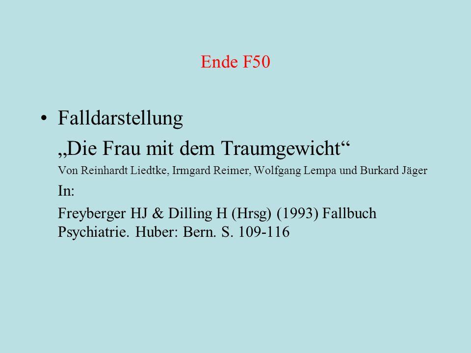 """Ende F50 Falldarstellung """"Die Frau mit dem Traumgewicht"""" Von Reinhardt Liedtke, Irmgard Reimer, Wolfgang Lempa und Burkard Jäger In: Freyberger HJ & D"""