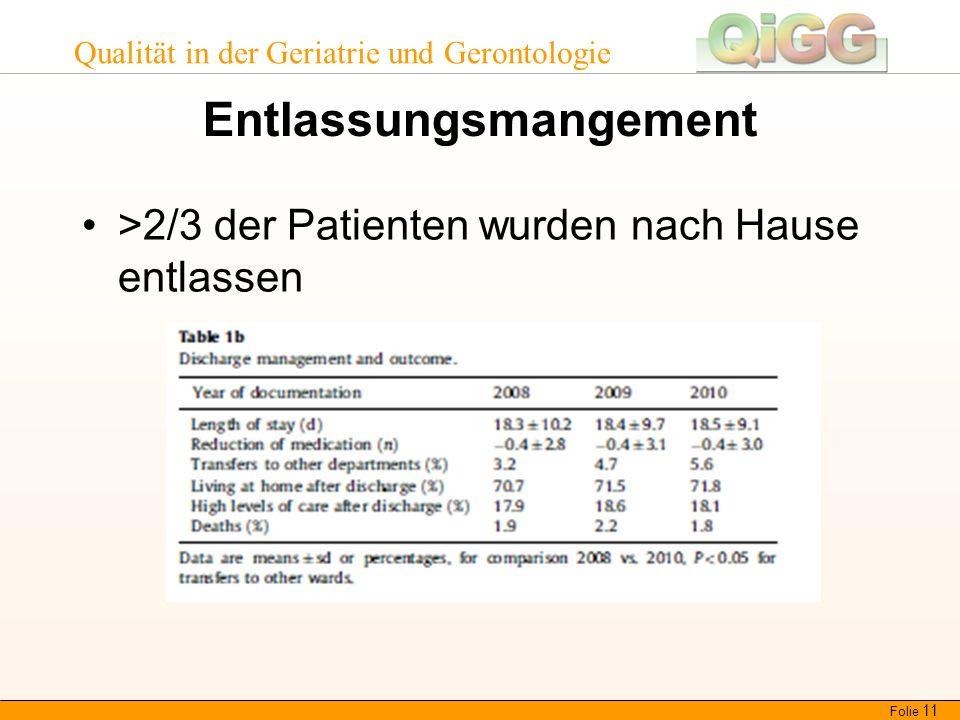 Qualität in der Geriatrie und Gerontologie Entlassungsmangement >2/3 der Patienten wurden nach Hause entlassen Folie 11
