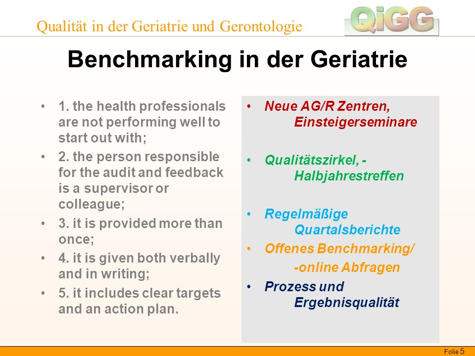Qualität in der Geriatrie und Gerontologie Benchmarking in der Geriatrie 1. the health professionals are not performing well to start out with; 2. the