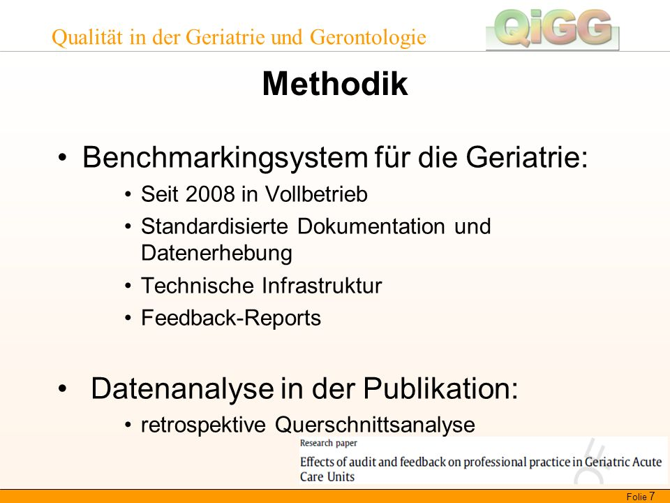 Qualität in der Geriatrie und Gerontologie