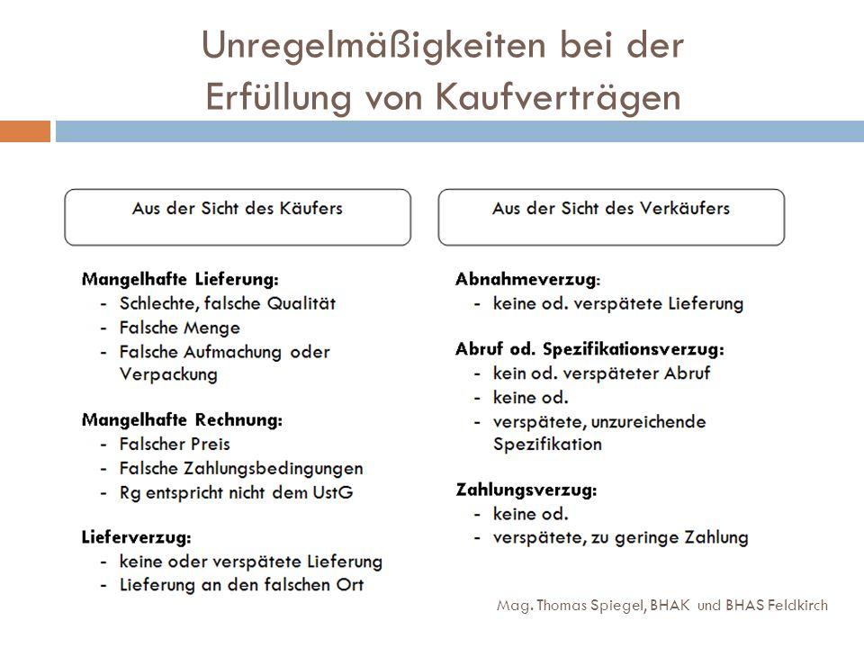 Unregelmäßigkeiten bei der Erfüllung von Kaufverträgen Mag. Thomas Spiegel, BHAK und BHAS Feldkirch
