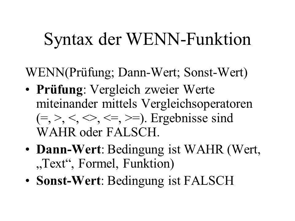 Syntax der WENN-Funktion WENN(Prüfung; Dann-Wert; Sonst-Wert) Prüfung: Vergleich zweier Werte miteinander mittels Vergleichsoperatoren (=, >,, =).