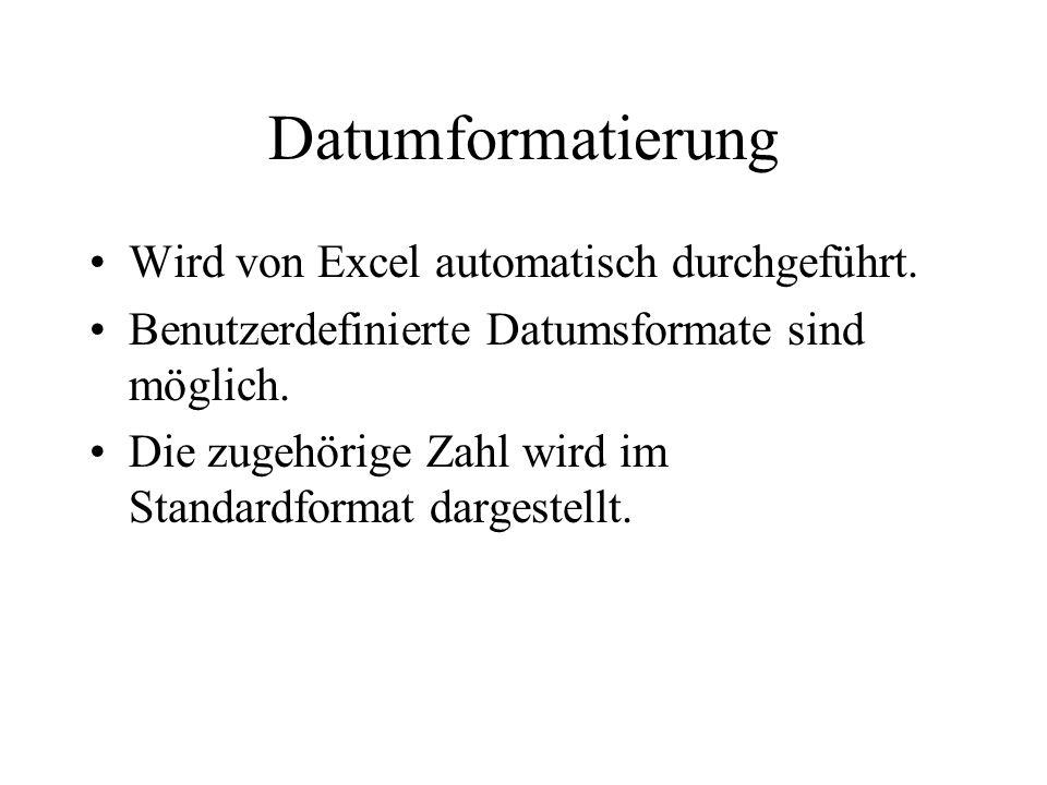Datumformatierung Wird von Excel automatisch durchgeführt.