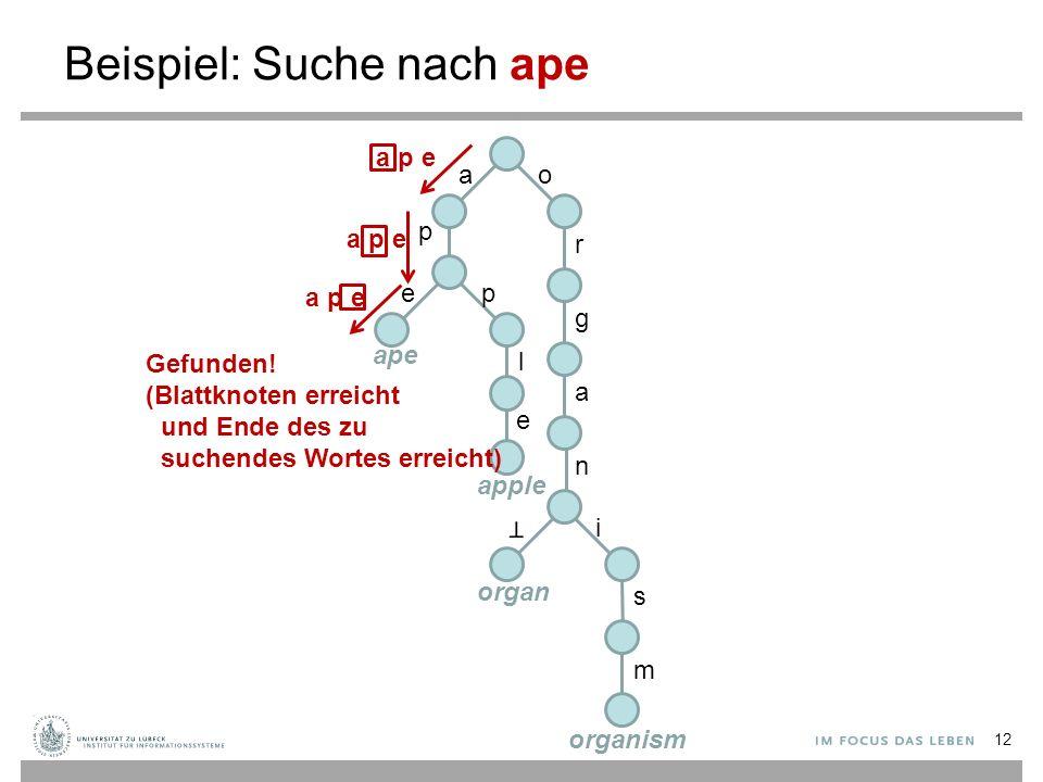 Beispiel: Suche nach ape ao p r g a n i s m ep l e ape apple organ organism a p e Gefunden! (Blattknoten erreicht und Ende des zu suchendes Wortes err