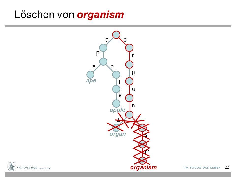 r g a n i s m o Löschen von organism a p ep l e ape apple organ organism 22