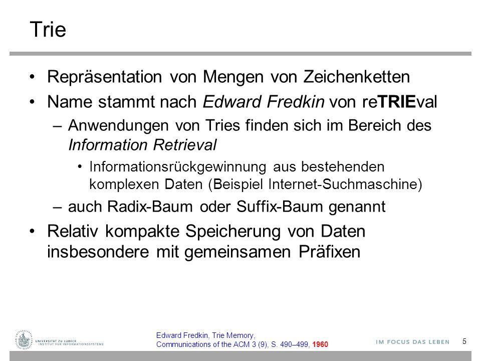 Trie Repräsentation von Mengen von Zeichenketten Name stammt nach Edward Fredkin von reTRIEval –Anwendungen von Tries finden sich im Bereich des Infor