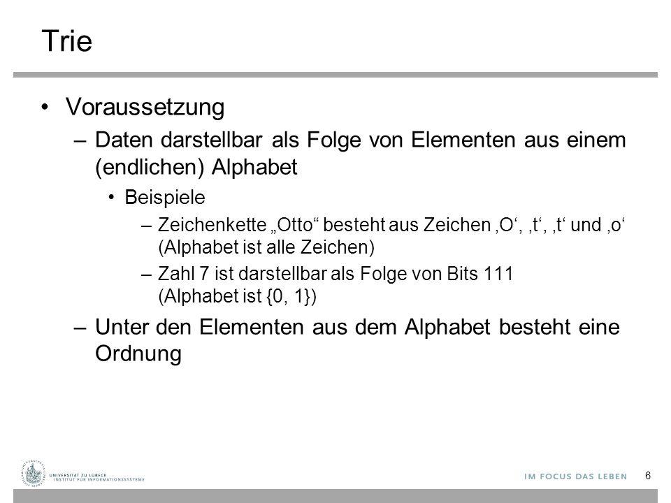 """Trie Voraussetzung –Daten darstellbar als Folge von Elementen aus einem (endlichen) Alphabet Beispiele –Zeichenkette """"Otto"""" besteht aus Zeichen 'O', '"""