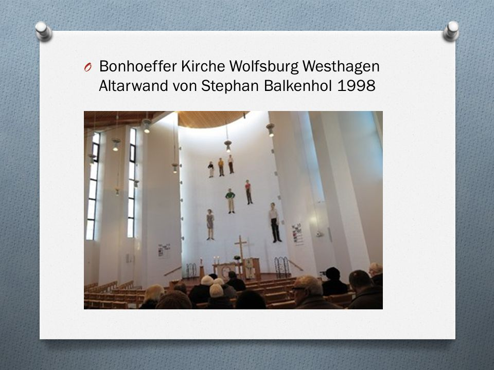 O Bonhoeffer Kirche Wolfsburg Westhagen Altarwand von Stephan Balkenhol 1998