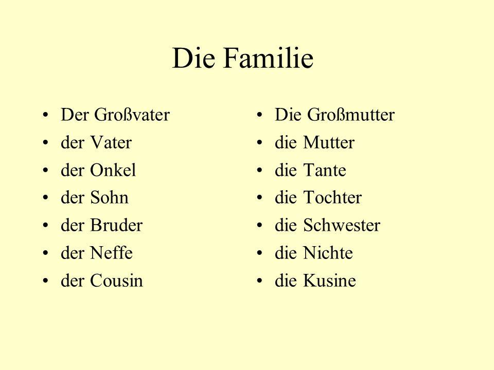 Die Familie Der Großvater der Vater der Onkel der Sohn der Bruder der Neffe der Cousin Die Großmutter die Mutter die Tante die Tochter die Schwester die Nichte die Kusine