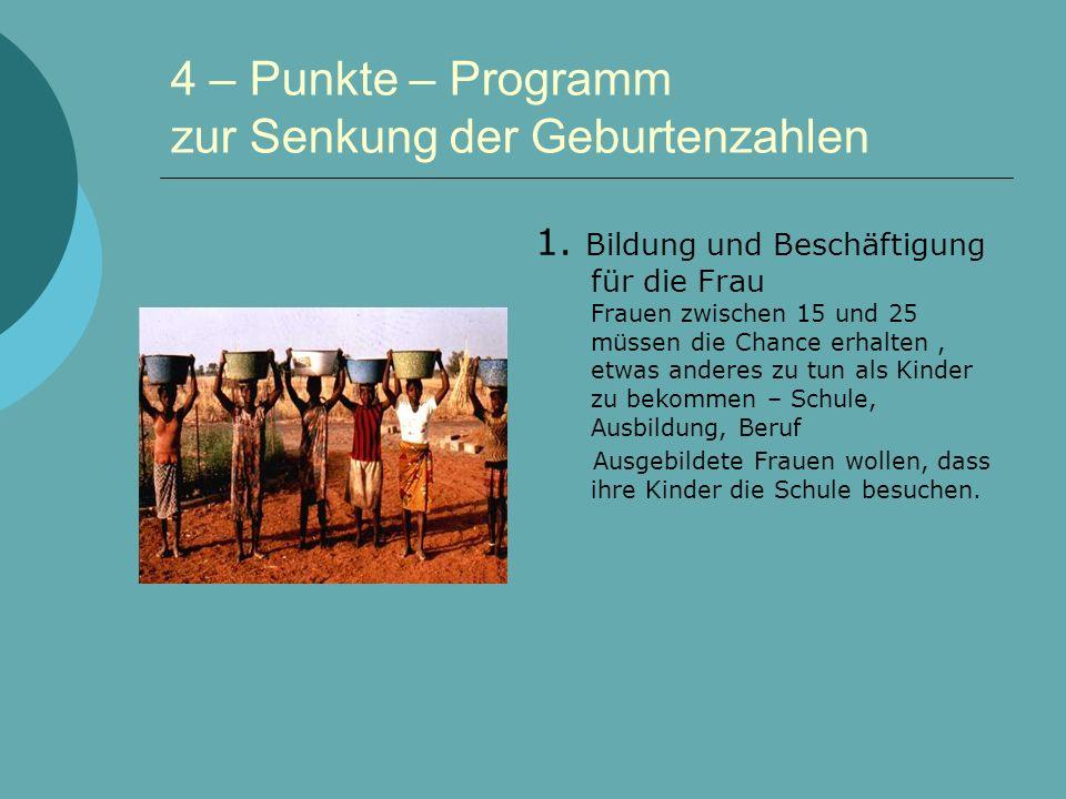 4 – Punkte – Programm zur Senkung der Geburtenzahlen 1.