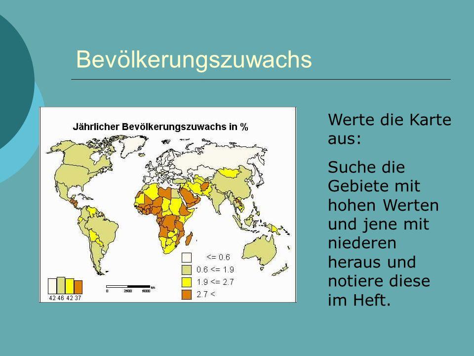 Bevölkerungszuwachs Werte die Karte aus: Suche die Gebiete mit hohen Werten und jene mit niederen heraus und notiere diese im Heft.