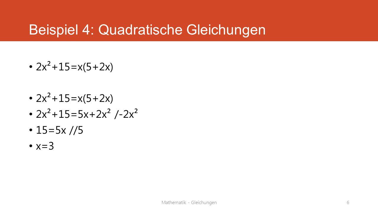 Mathematik - Gleichungen7 Beispiel 5: Gleichungen Textaufgaben Sandra und ihre Schwester Tanja sind zusammen 23 Jahre alt.