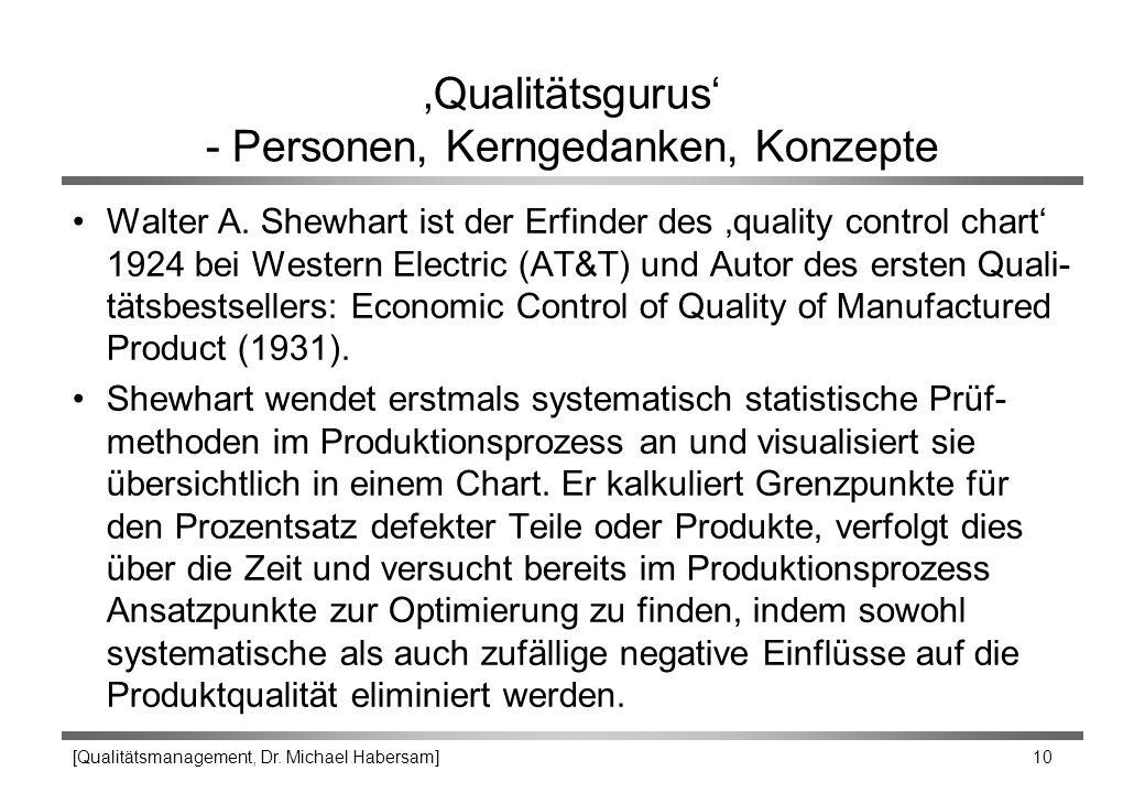 [Qualitätsmanagement, Dr. Michael Habersam] 10 'Qualitätsgurus' - Personen, Kerngedanken, Konzepte Walter A. Shewhart ist der Erfinder des 'quality co
