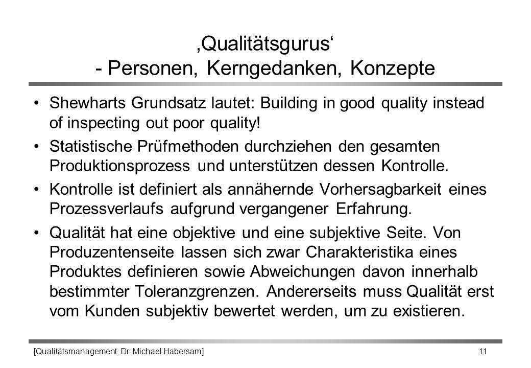 [Qualitätsmanagement, Dr. Michael Habersam] 11 'Qualitätsgurus' - Personen, Kerngedanken, Konzepte Shewharts Grundsatz lautet: Building in good qualit