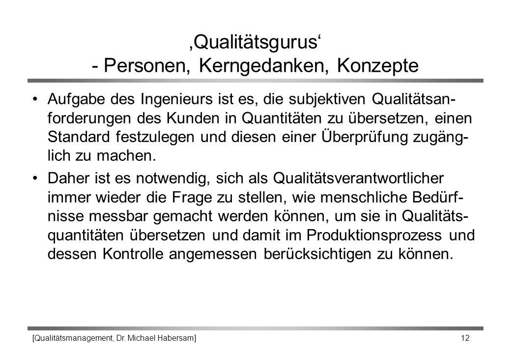 [Qualitätsmanagement, Dr. Michael Habersam] 12 'Qualitätsgurus' - Personen, Kerngedanken, Konzepte Aufgabe des Ingenieurs ist es, die subjektiven Qual