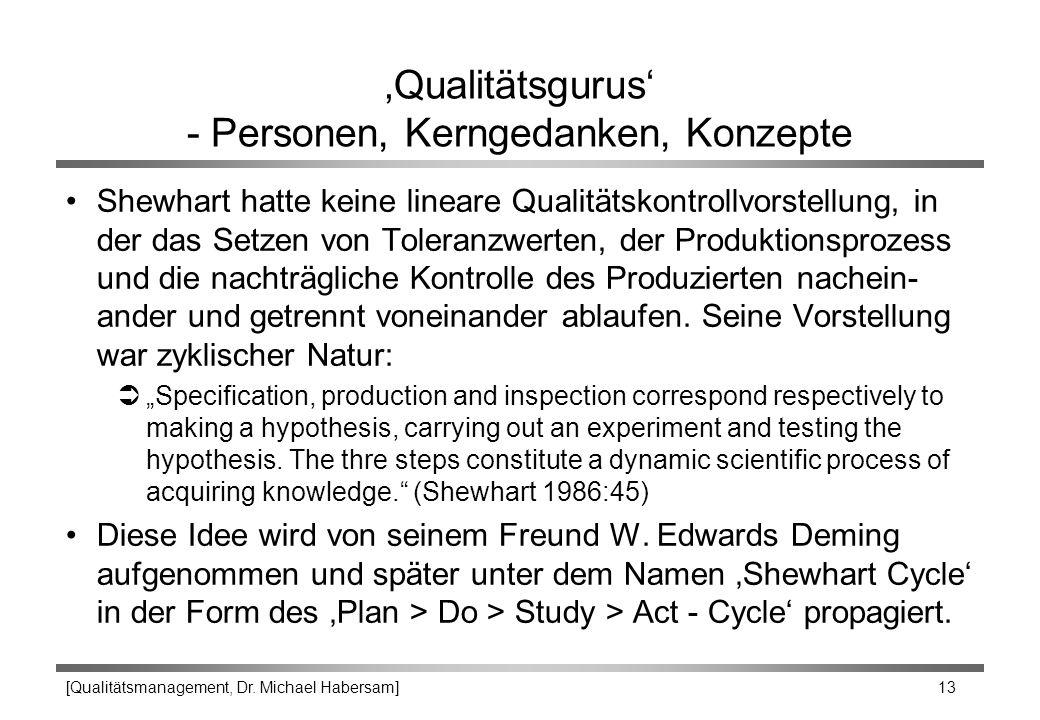[Qualitätsmanagement, Dr. Michael Habersam] 13 'Qualitätsgurus' - Personen, Kerngedanken, Konzepte Shewhart hatte keine lineare Qualitätskontrollvorst