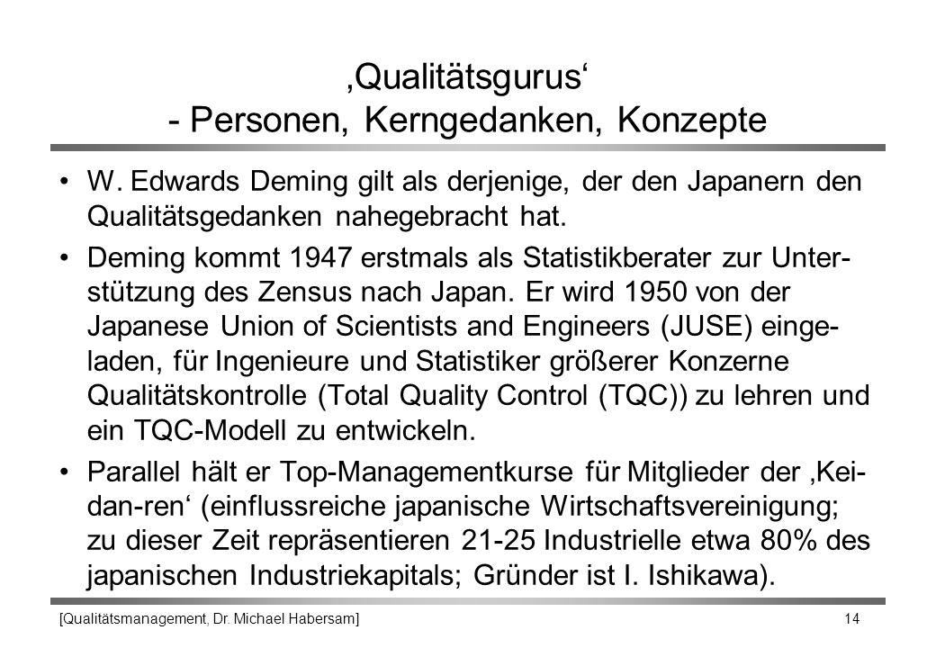 [Qualitätsmanagement, Dr. Michael Habersam] 14 'Qualitätsgurus' - Personen, Kerngedanken, Konzepte W. Edwards Deming gilt als derjenige, der den Japan