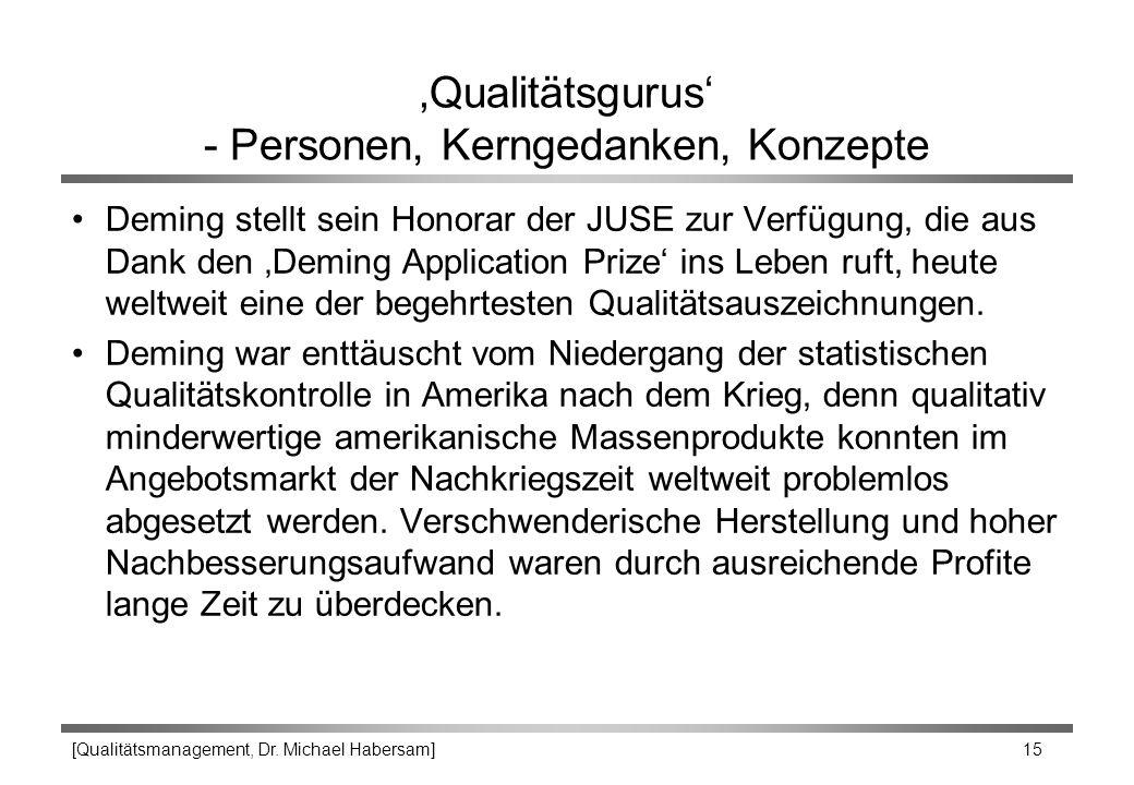 [Qualitätsmanagement, Dr. Michael Habersam] 15 'Qualitätsgurus' - Personen, Kerngedanken, Konzepte Deming stellt sein Honorar der JUSE zur Verfügung,