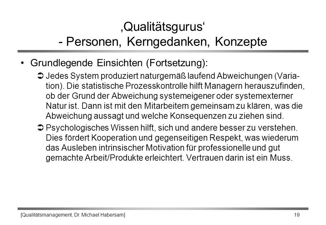 [Qualitätsmanagement, Dr. Michael Habersam] 19 'Qualitätsgurus' - Personen, Kerngedanken, Konzepte Grundlegende Einsichten (Fortsetzung): ÜJedes Syste