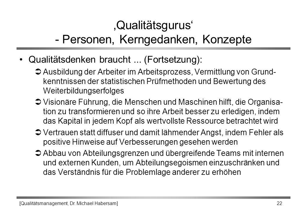 [Qualitätsmanagement, Dr. Michael Habersam] 22 'Qualitätsgurus' - Personen, Kerngedanken, Konzepte Qualitätsdenken braucht... (Fortsetzung): ÜAusbildu