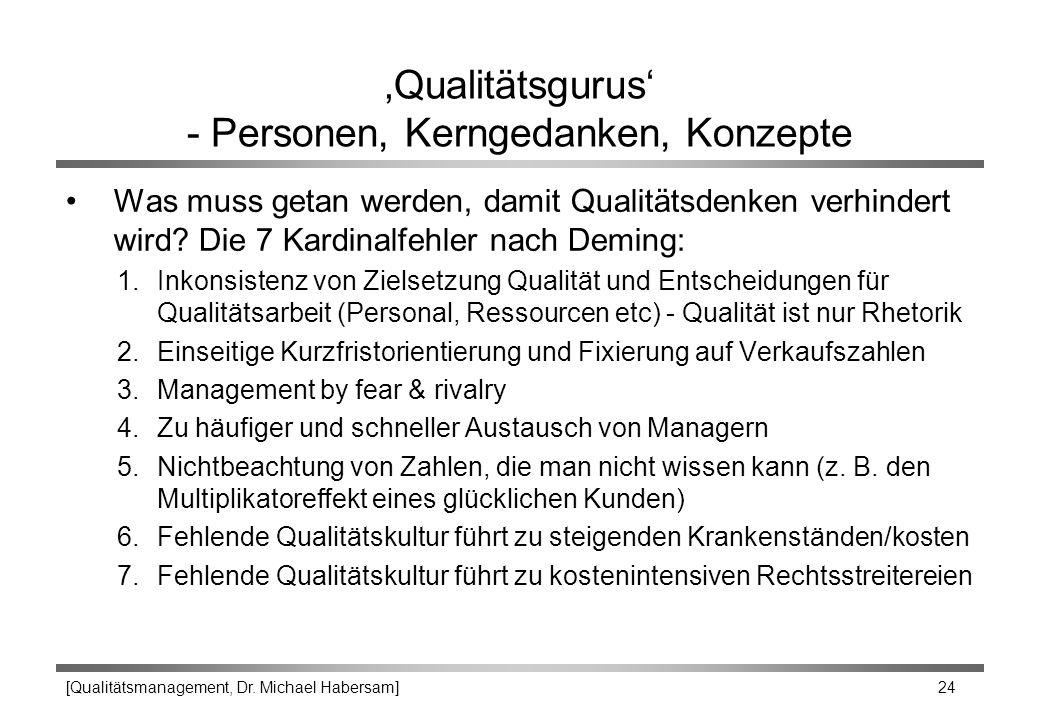 [Qualitätsmanagement, Dr. Michael Habersam] 24 'Qualitätsgurus' - Personen, Kerngedanken, Konzepte Was muss getan werden, damit Qualitätsdenken verhin