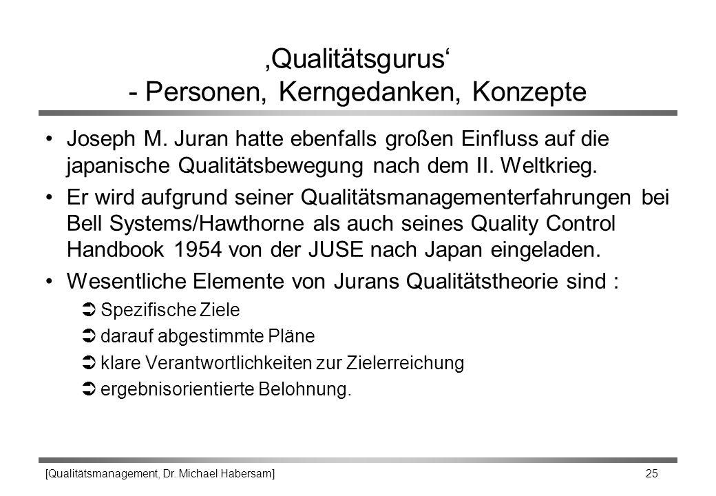 [Qualitätsmanagement, Dr. Michael Habersam] 25 'Qualitätsgurus' - Personen, Kerngedanken, Konzepte Joseph M. Juran hatte ebenfalls großen Einfluss auf
