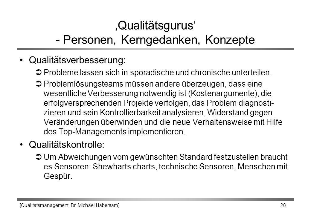 [Qualitätsmanagement, Dr. Michael Habersam] 28 'Qualitätsgurus' - Personen, Kerngedanken, Konzepte Qualitätsverbesserung: ÜProbleme lassen sich in spo