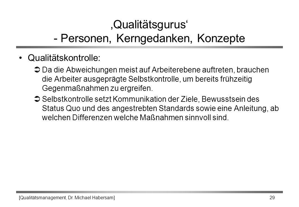 [Qualitätsmanagement, Dr. Michael Habersam] 29 'Qualitätsgurus' - Personen, Kerngedanken, Konzepte Qualitätskontrolle: ÜDa die Abweichungen meist auf