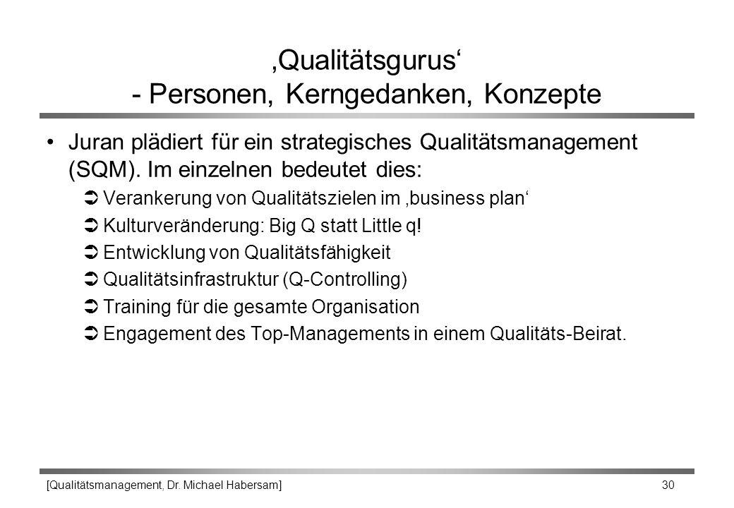 [Qualitätsmanagement, Dr. Michael Habersam] 30 'Qualitätsgurus' - Personen, Kerngedanken, Konzepte Juran plädiert für ein strategisches Qualitätsmanag