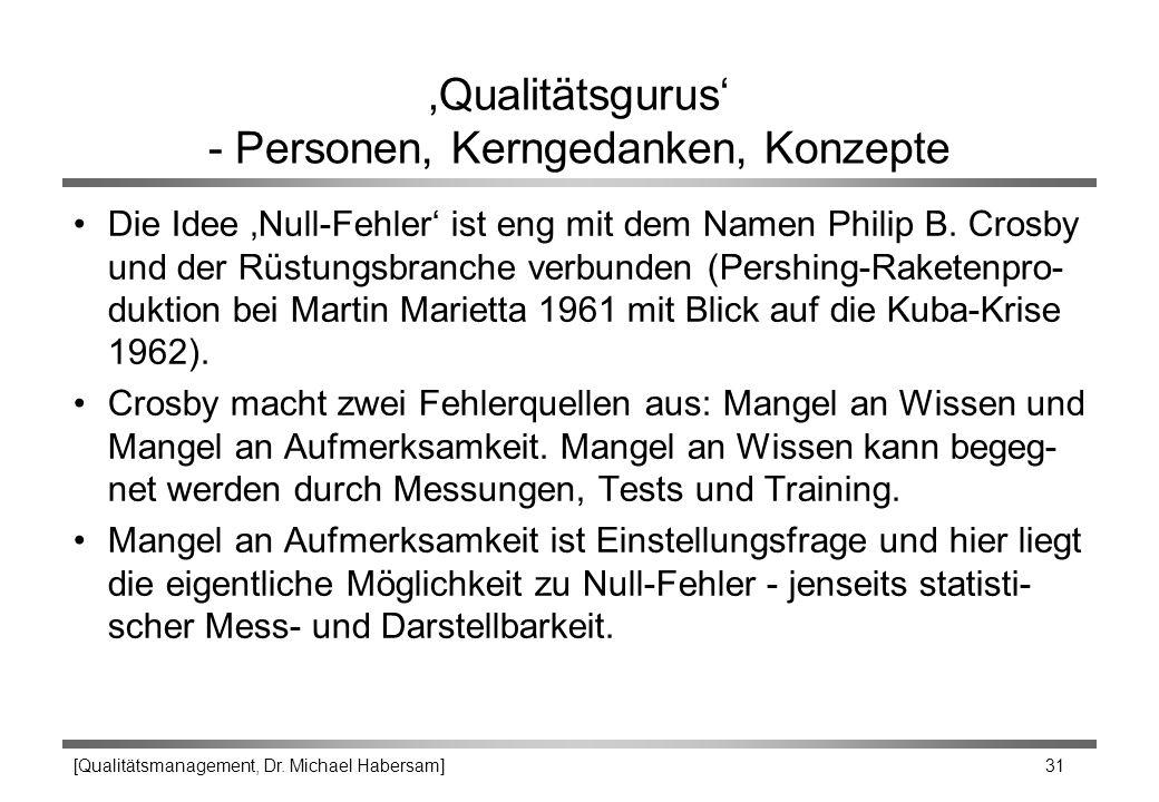 [Qualitätsmanagement, Dr. Michael Habersam] 31 'Qualitätsgurus' - Personen, Kerngedanken, Konzepte Die Idee 'Null-Fehler' ist eng mit dem Namen Philip