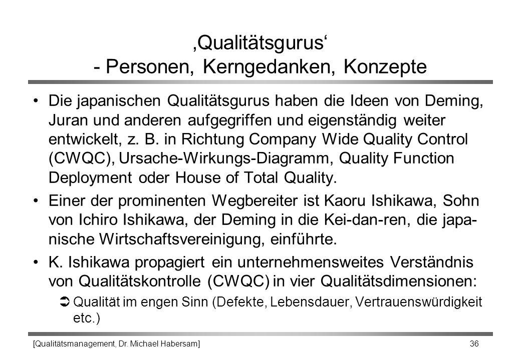[Qualitätsmanagement, Dr. Michael Habersam] 36 'Qualitätsgurus' - Personen, Kerngedanken, Konzepte Die japanischen Qualitätsgurus haben die Ideen von