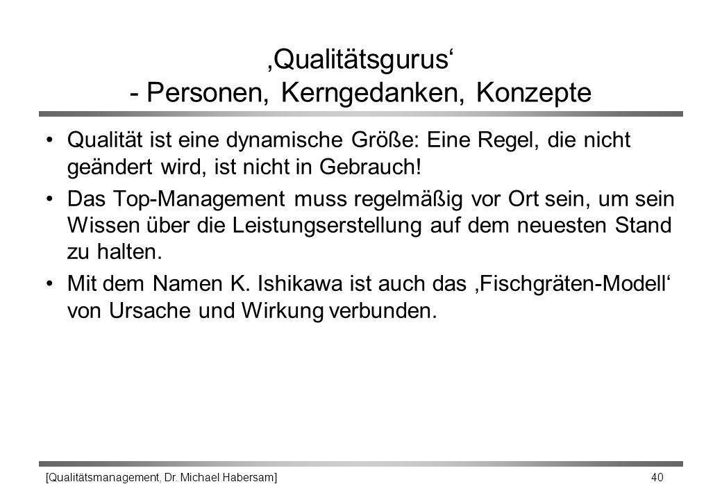[Qualitätsmanagement, Dr. Michael Habersam] 40 'Qualitätsgurus' - Personen, Kerngedanken, Konzepte Qualität ist eine dynamische Größe: Eine Regel, die