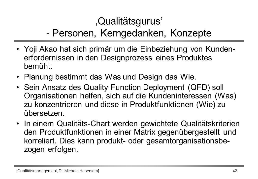 [Qualitätsmanagement, Dr. Michael Habersam] 42 'Qualitätsgurus' - Personen, Kerngedanken, Konzepte Yoji Akao hat sich primär um die Einbeziehung von K