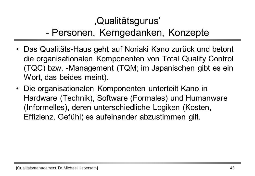 [Qualitätsmanagement, Dr. Michael Habersam] 43 'Qualitätsgurus' - Personen, Kerngedanken, Konzepte Das Qualitäts-Haus geht auf Noriaki Kano zurück und