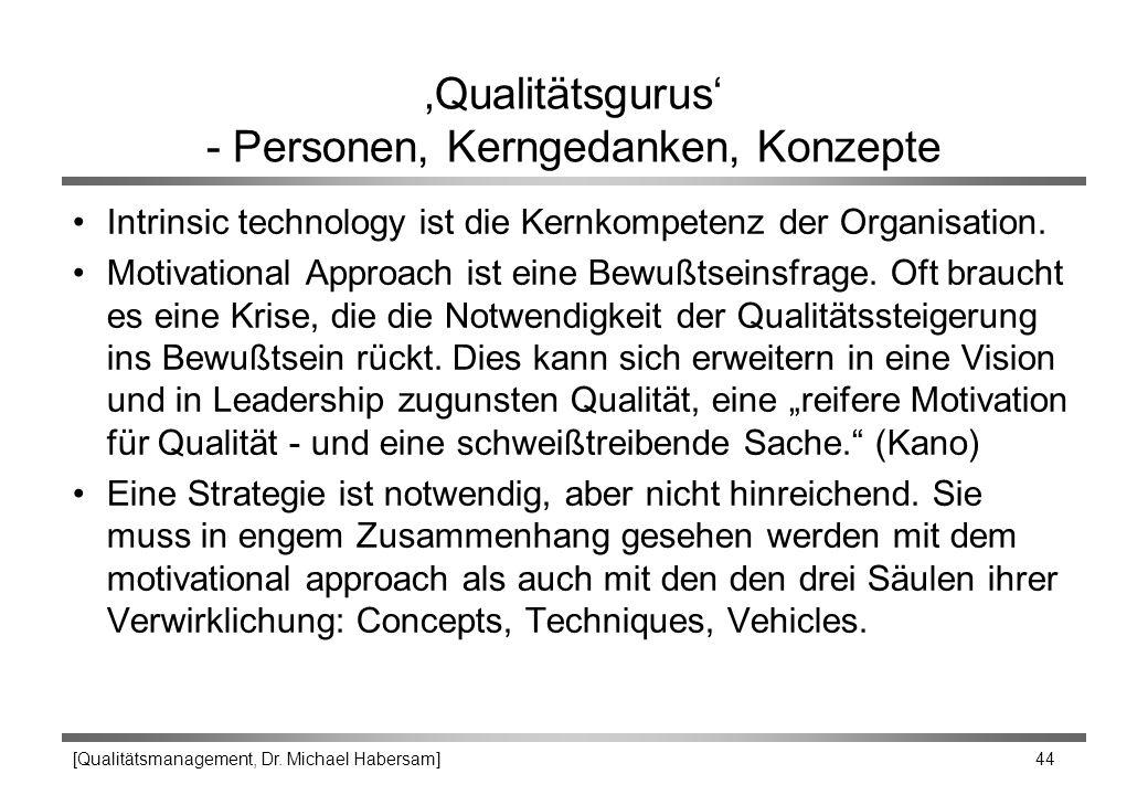 [Qualitätsmanagement, Dr. Michael Habersam] 44 'Qualitätsgurus' - Personen, Kerngedanken, Konzepte Intrinsic technology ist die Kernkompetenz der Orga