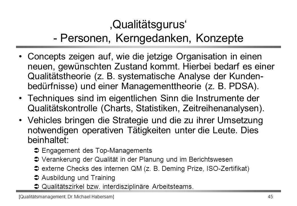 [Qualitätsmanagement, Dr. Michael Habersam] 45 'Qualitätsgurus' - Personen, Kerngedanken, Konzepte Concepts zeigen auf, wie die jetzige Organisation i