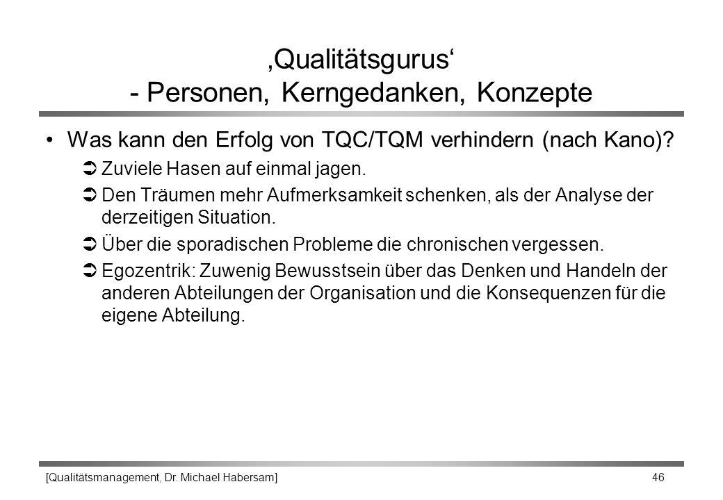 [Qualitätsmanagement, Dr. Michael Habersam] 46 'Qualitätsgurus' - Personen, Kerngedanken, Konzepte Was kann den Erfolg von TQC/TQM verhindern (nach Ka