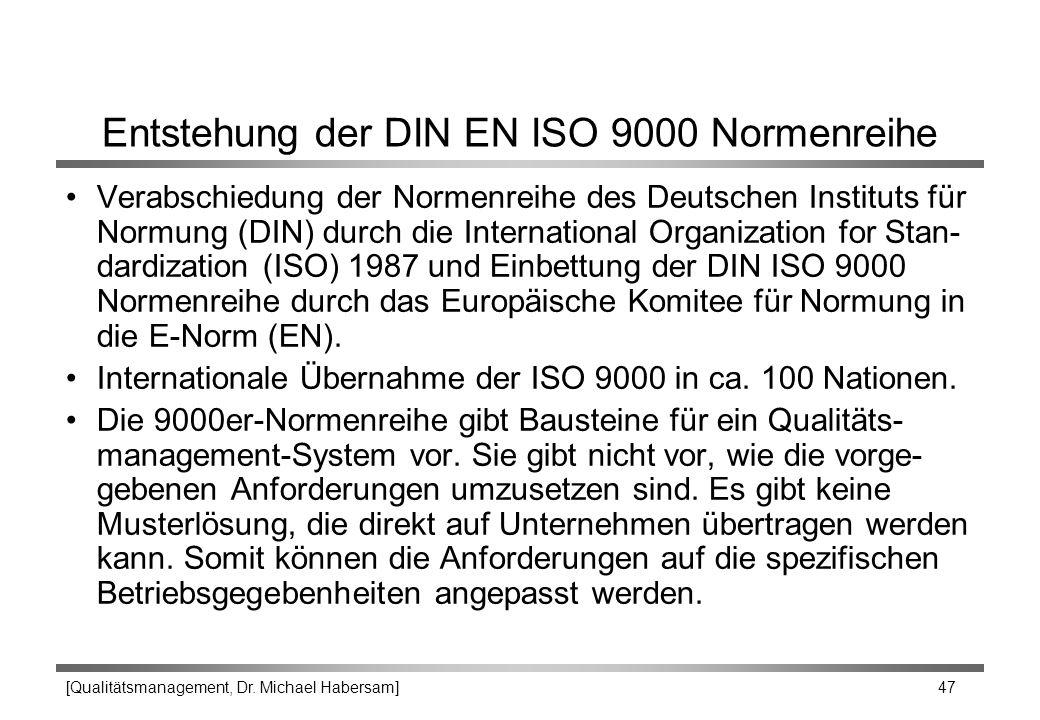 [Qualitätsmanagement, Dr. Michael Habersam] 47 Entstehung der DIN EN ISO 9000 Normenreihe Verabschiedung der Normenreihe des Deutschen Instituts für N
