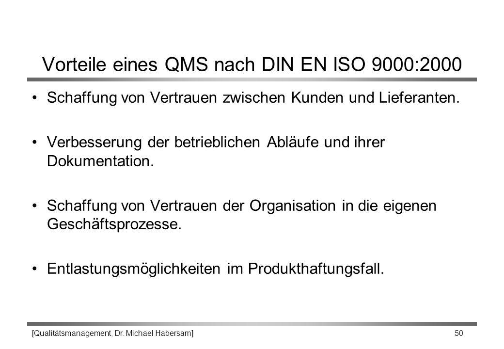 [Qualitätsmanagement, Dr. Michael Habersam] 50 Vorteile eines QMS nach DIN EN ISO 9000:2000 Schaffung von Vertrauen zwischen Kunden und Lieferanten. V