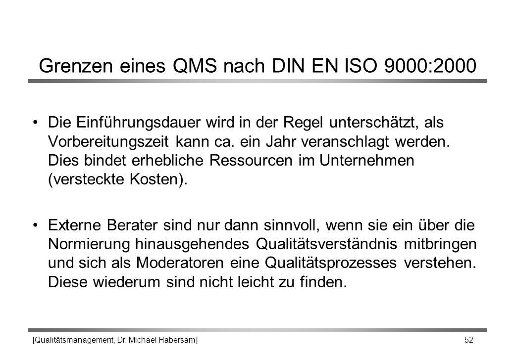 [Qualitätsmanagement, Dr. Michael Habersam] 52 Grenzen eines QMS nach DIN EN ISO 9000:2000 Die Einführungsdauer wird in der Regel unterschätzt, als Vo