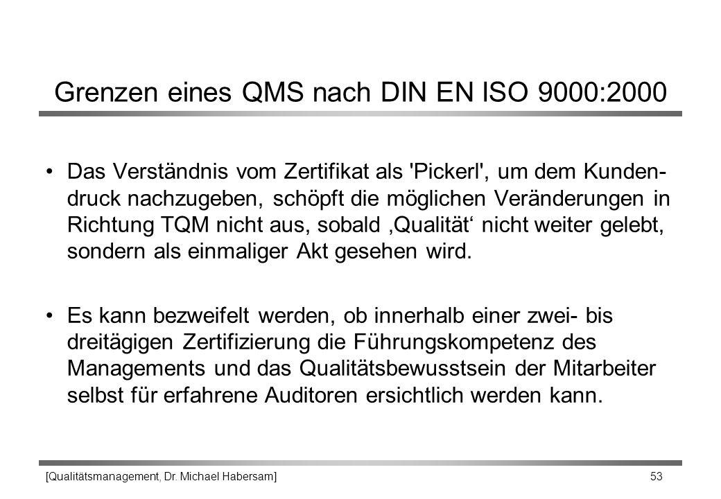 [Qualitätsmanagement, Dr. Michael Habersam] 53 Grenzen eines QMS nach DIN EN ISO 9000:2000 Das Verständnis vom Zertifikat als 'Pickerl', um dem Kunden