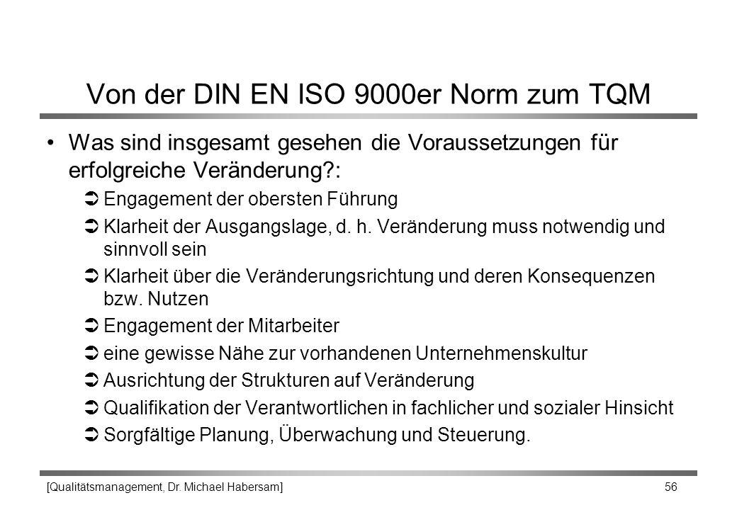 [Qualitätsmanagement, Dr. Michael Habersam] 56 Von der DIN EN ISO 9000er Norm zum TQM Was sind insgesamt gesehen die Voraussetzungen für erfolgreiche