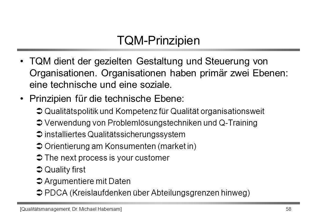[Qualitätsmanagement, Dr. Michael Habersam] 58 TQM-Prinzipien TQM dient der gezielten Gestaltung und Steuerung von Organisationen. Organisationen habe