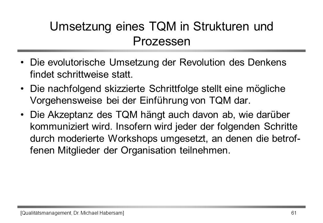 [Qualitätsmanagement, Dr. Michael Habersam] 61 Umsetzung eines TQM in Strukturen und Prozessen Die evolutorische Umsetzung der Revolution des Denkens