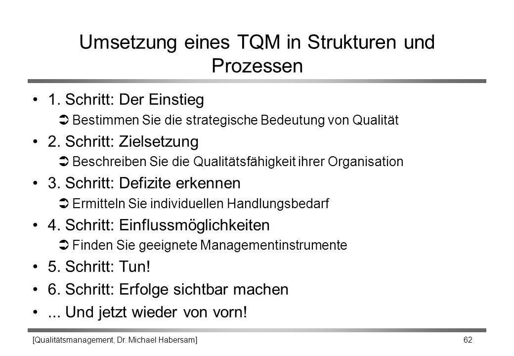 [Qualitätsmanagement, Dr. Michael Habersam] 62 Umsetzung eines TQM in Strukturen und Prozessen 1. Schritt: Der Einstieg ÜBestimmen Sie die strategisch