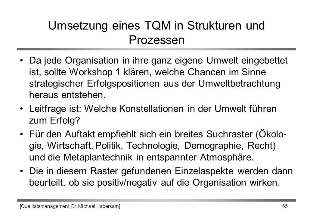 [Qualitätsmanagement, Dr. Michael Habersam] 65 Umsetzung eines TQM in Strukturen und Prozessen Da jede Organisation in ihre ganz eigene Umwelt eingebe