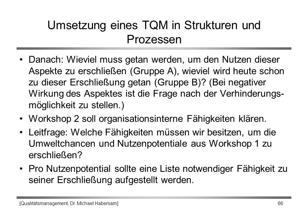 [Qualitätsmanagement, Dr. Michael Habersam] 66 Umsetzung eines TQM in Strukturen und Prozessen Danach: Wieviel muss getan werden, um den Nutzen dieser
