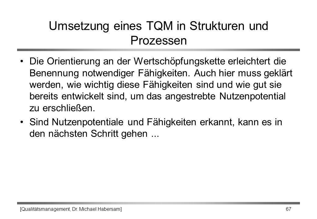 [Qualitätsmanagement, Dr. Michael Habersam] 67 Umsetzung eines TQM in Strukturen und Prozessen Die Orientierung an der Wertschöpfungskette erleichtert
