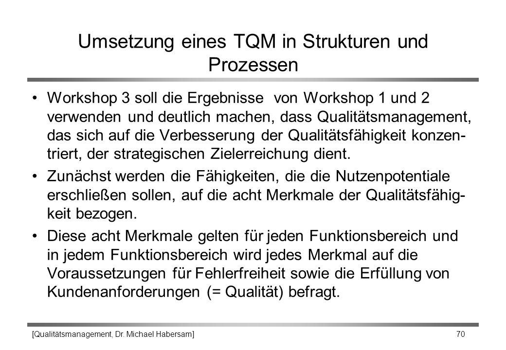[Qualitätsmanagement, Dr. Michael Habersam] 70 Umsetzung eines TQM in Strukturen und Prozessen Workshop 3 soll die Ergebnisse von Workshop 1 und 2 ver